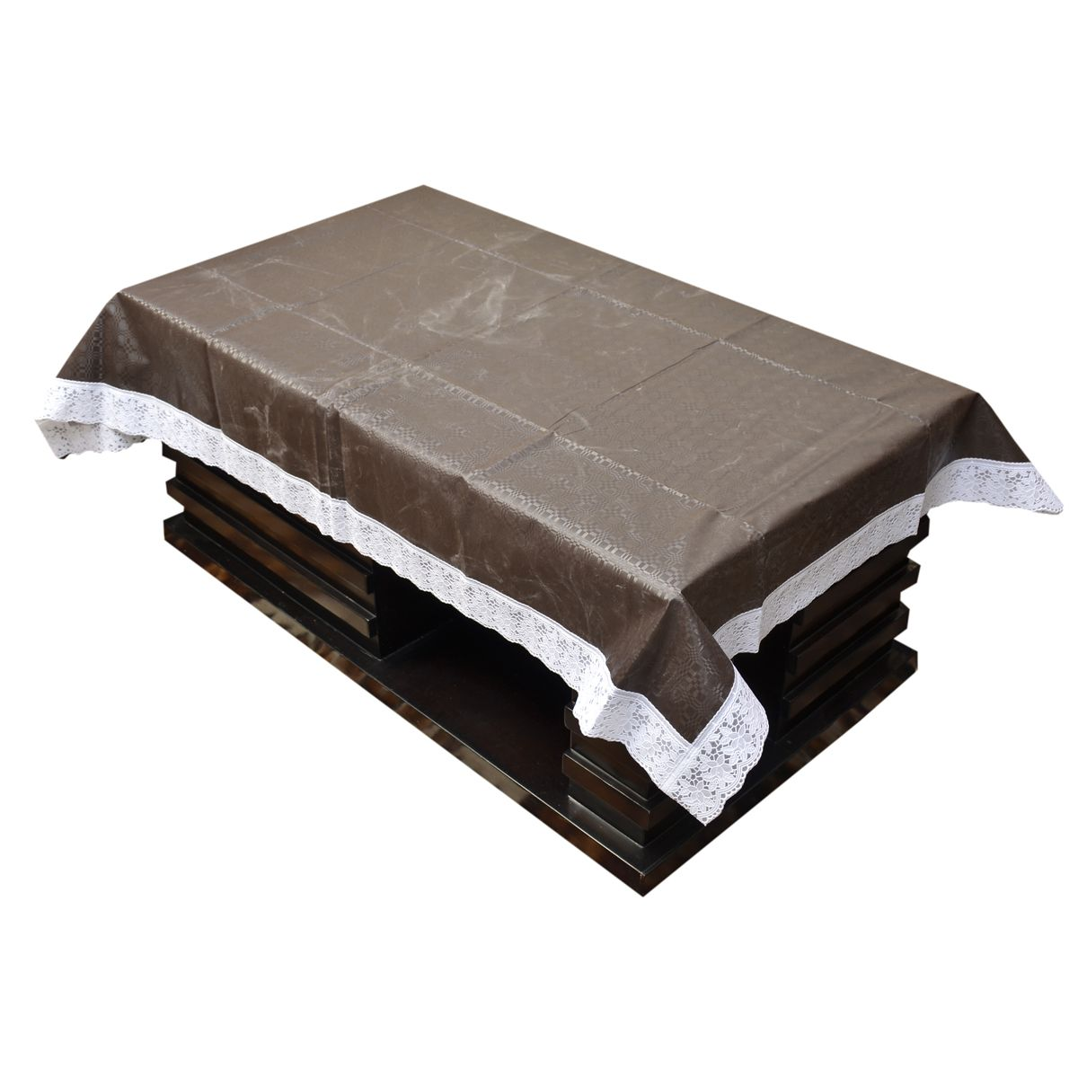 Kuber Industries™ Waterproof Center Table Cover 4 Seater 40*60 Inches (Brown Self Design) (Code-CT0032)