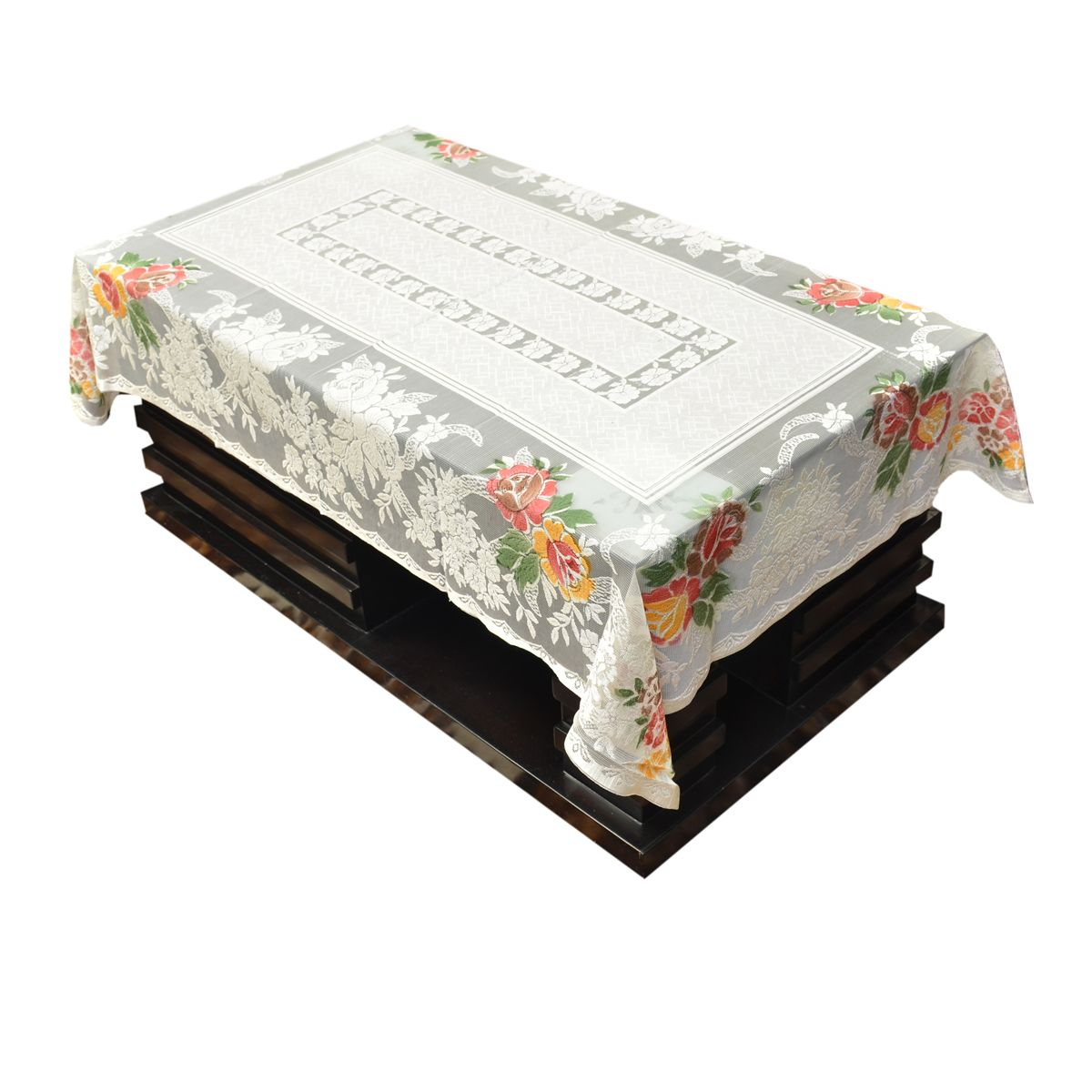 Kuber Industries™ Cream Shining Printed Cloth Net Center Table Cover 4 Seater 40*60 Inches (Code-CT0050)