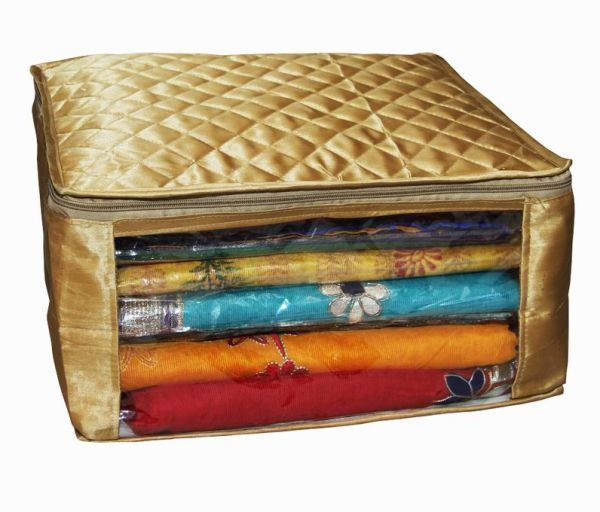 Kuber Industries Quilted Satin large Saree Cover (Golden) KI8063