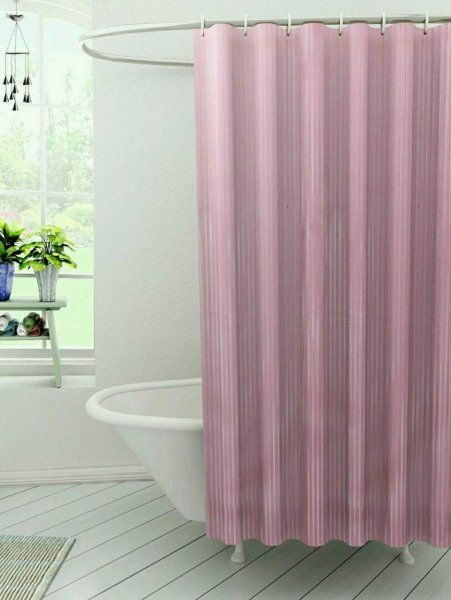 Kuber Industries™ Self Design PVC  Premium Shower Curtain - 7 Feet -84*54 Inches (Pink) SHW01
