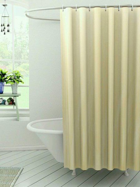 Kuber Industries™ Self Design PVC Premium Shower Curtain - 7 Feet -84*54 Inches (Cream) SHW04