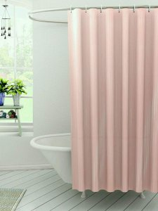 Kuber Industries™ Self Design PVC  Premium Shower Curtain - 7 Feet -84*54 Inches (Peach) SHW03