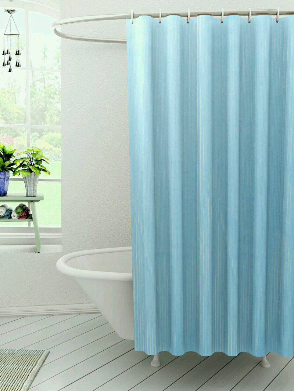 Kuber Industries™ Self Design PVC Premium Shower Curtain Set of 2 Pcs  - 7 Feet -84*54 Inches (Sky Blue) SHW08