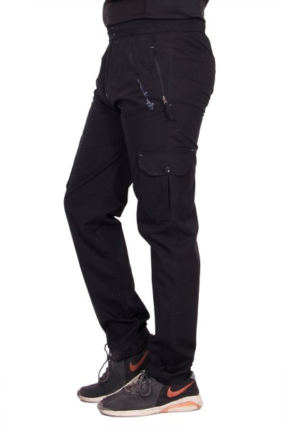 Kuber Industries Cotton Pajama Cargo Lower Track pant for men (Black)