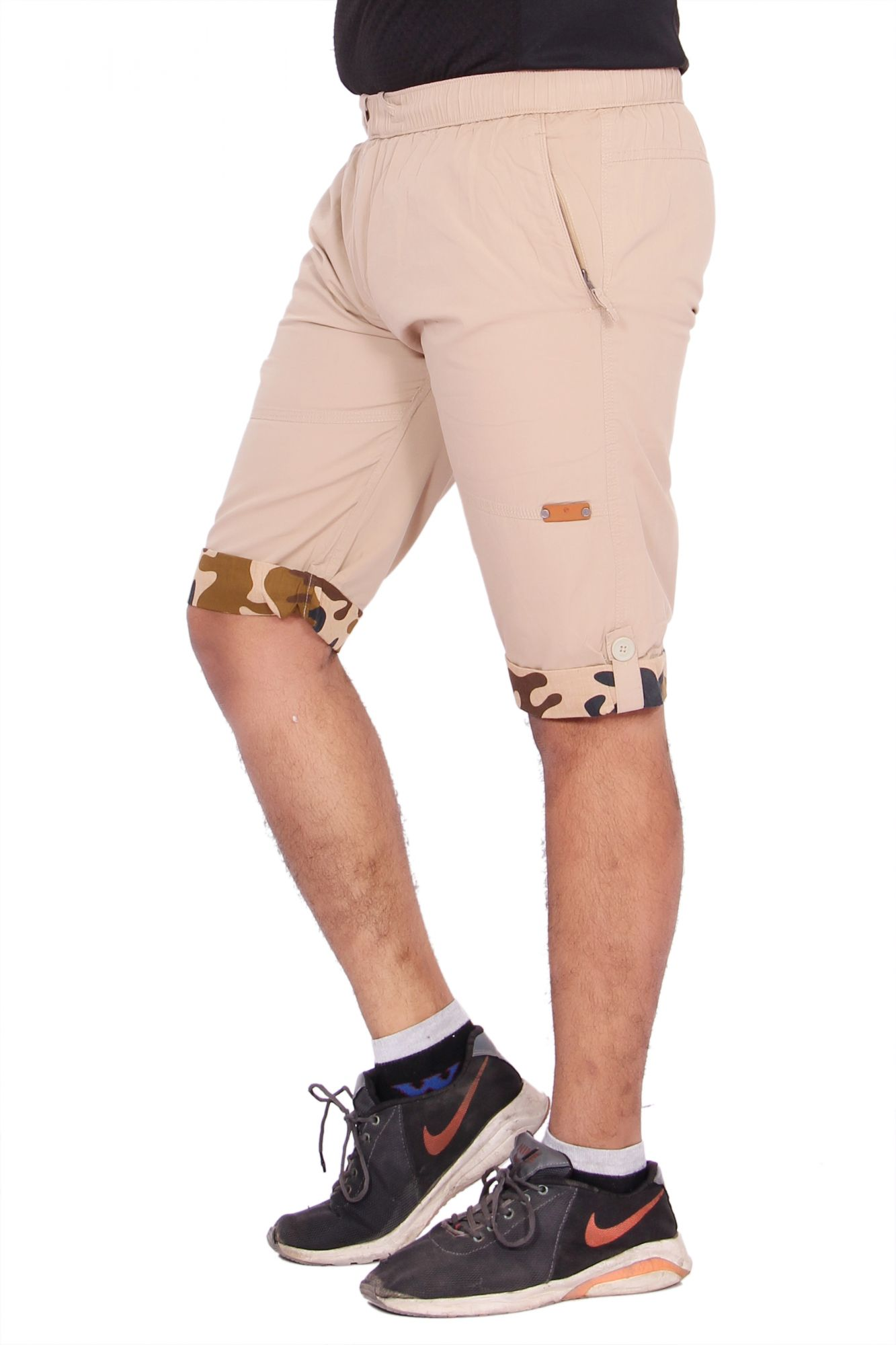 Kuber Industries Cotton Smart Polo Knee Length Capri for men (Cream)
