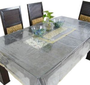Dining Table Cover Transparent Embroidry 6 Seater
