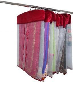 Hanging Saree Cover satin With Net 12 Pcs set