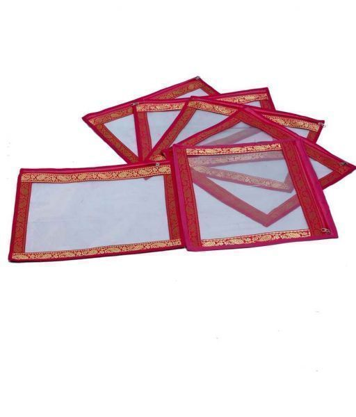 Transparent Saree Cover With Designer Brocade Set Of 6 Pcs