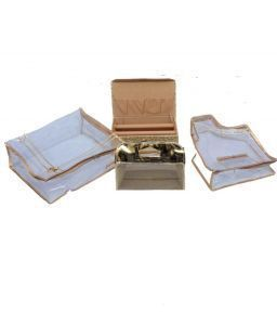 Exclusive Saree Cover , Blouse CoverMake Up Kit & Two Roll Bangle Box 3 Pcs Set