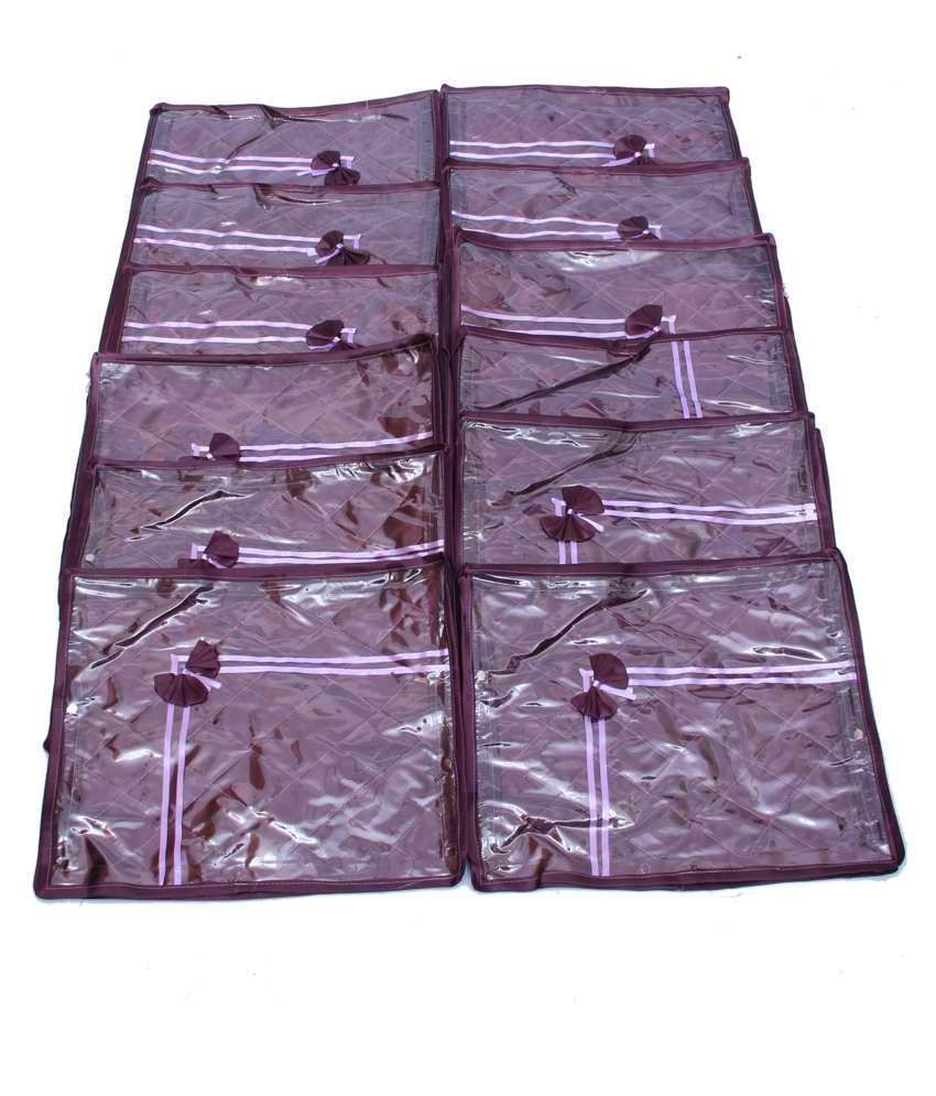 Quilted Satin Saree Cover Set Of 12 Pcs