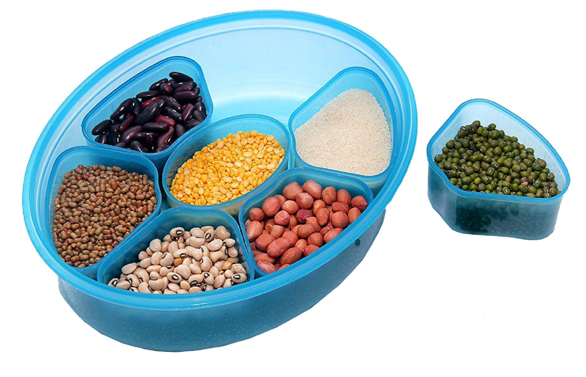 Kuber Industries™ Air Tight Lock Spice Container,Spice Box,Masala Container -7 Sections.Assorted Colors (Masala05)