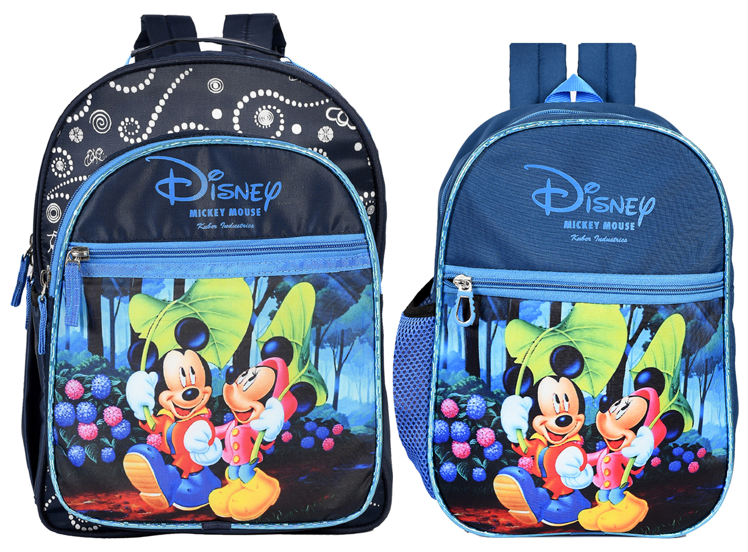 Kuber Industries  Disney Mickey Minnie Mouse 13 & 15 inch Polyster School Bag/Backpack For Kids, Blue, Pack of 2 (Small & Medium)-DISNEY008