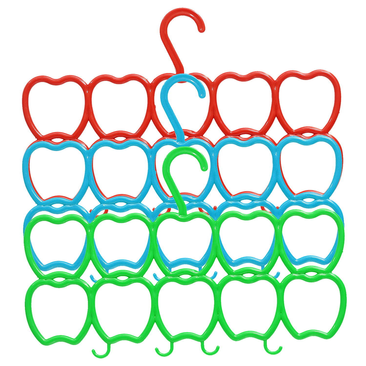 Kuber Industries 10-Circle 3 Pieces Plastic Heart Design Hanger for Scarf, Shawl, Tie, Belt, Closet Accessory Wardrobe Organizer (MultiColor) - CTKTC30777