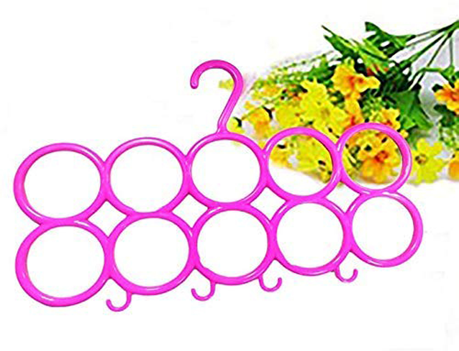 Kuber Industries 10-Circle Plastic 6 Pieces Ring Hanger for Scarf, Shawl, Tie, Belt, Closet Accessory Wardrobe Organizer (MultiColor) - CTKTC30768