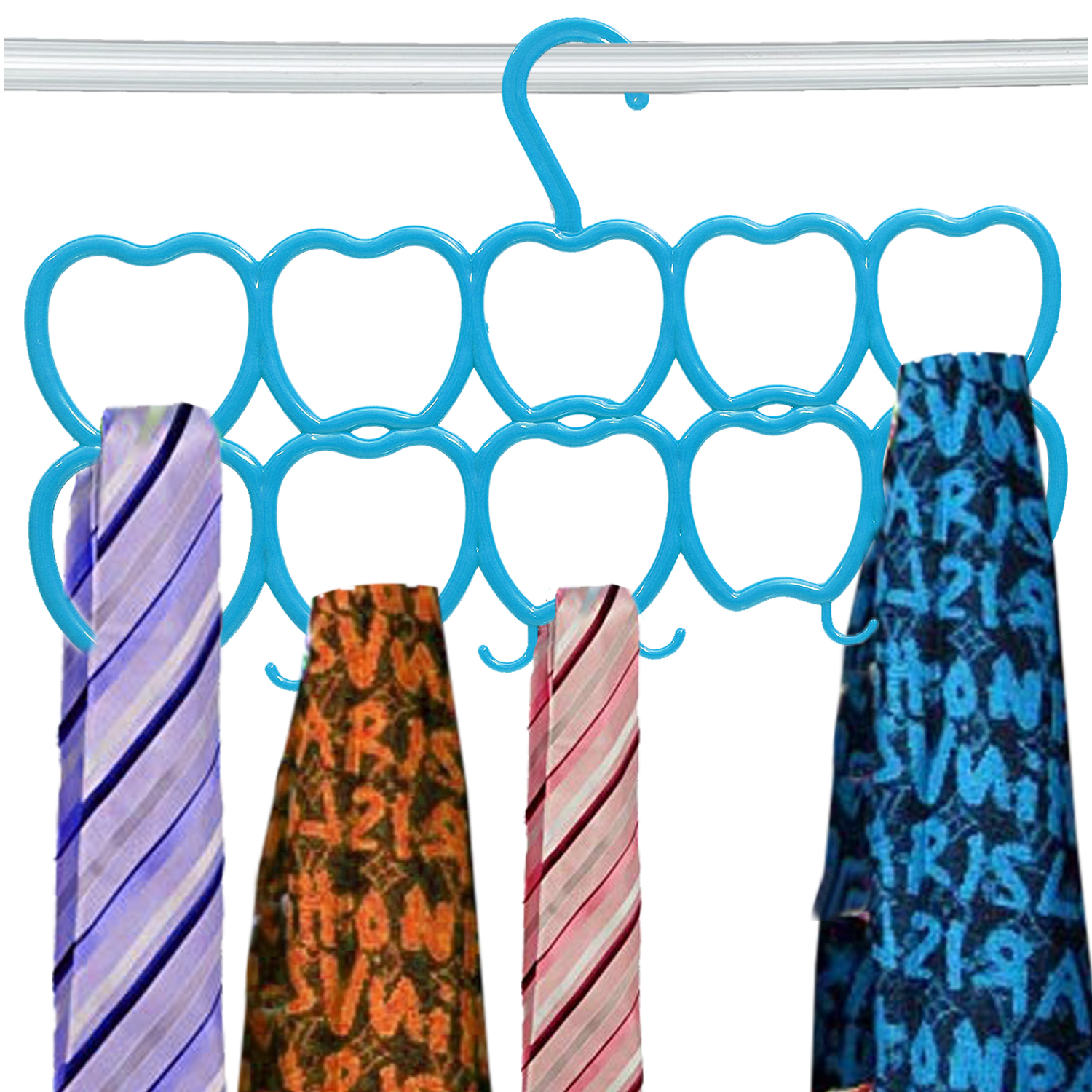 Kuber Industries 10-Circle Plastic Heart Design Hanger for Scarf, Shawl, Tie, Belt, Closet Accessory Wardrobe Organizer (MultiColor) - CTKTC30773