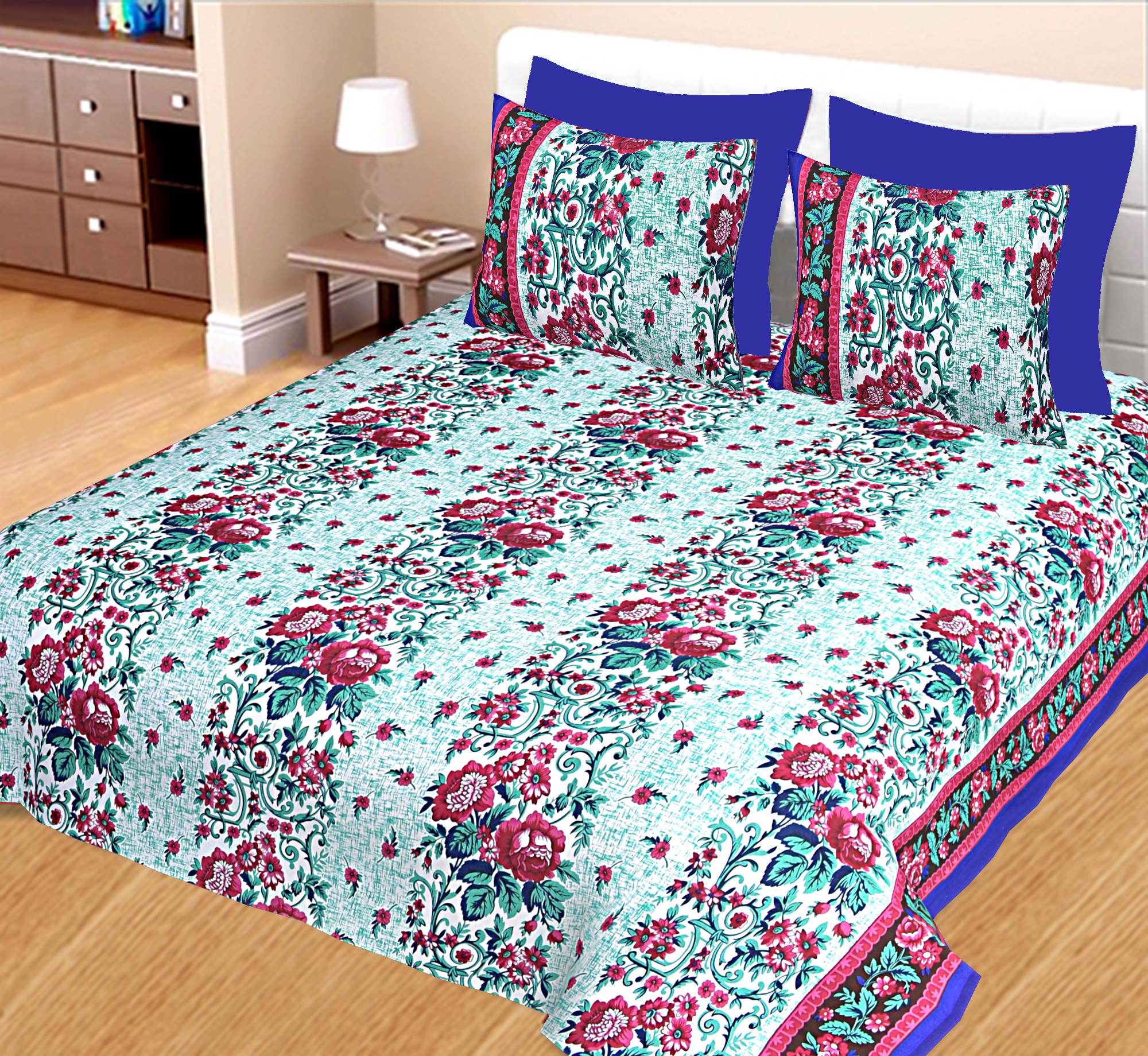 Kuber Industries 100% Cotton 144 TC Double Bed sheet with 2 Pillow Covers (Green) -CTKTC12993