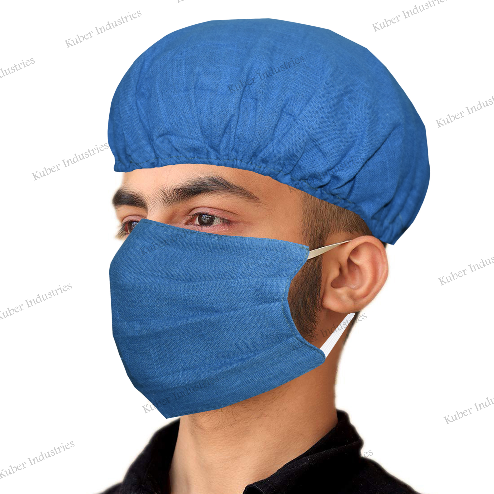 Kuber Industries 100% Cotton 2-Layer Reusable Anti Pollution Mask With Surgeon Caps(Pack Of-4, Blue)-CTKTC46391