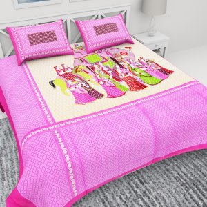 Kuber Industries™ 144 TC Cotton Double Bedsheet with 2 Pillow Covers -Pink (King Size) (BSN04)