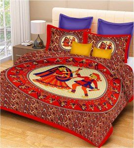 Kuber Industries™ 144 TC Cotton Double Bedsheet with 2 Pillow Covers -Red & Cream  (Dandiya Print) Code-Bedss35
