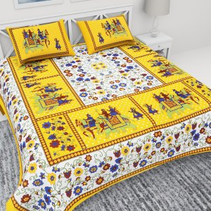 Kuber Industries™ 144 TC Cotton Double Bedsheet with 2 Pillow Covers -Yellow (Floral Design) (BSN06)