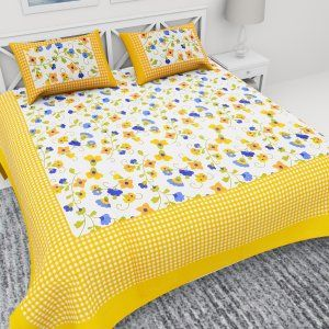 Kuber Industries™ 144 TC Cotton Double Bedsheet with 2 Pillow Covers -Yellow (Floral Design) (BSN13)