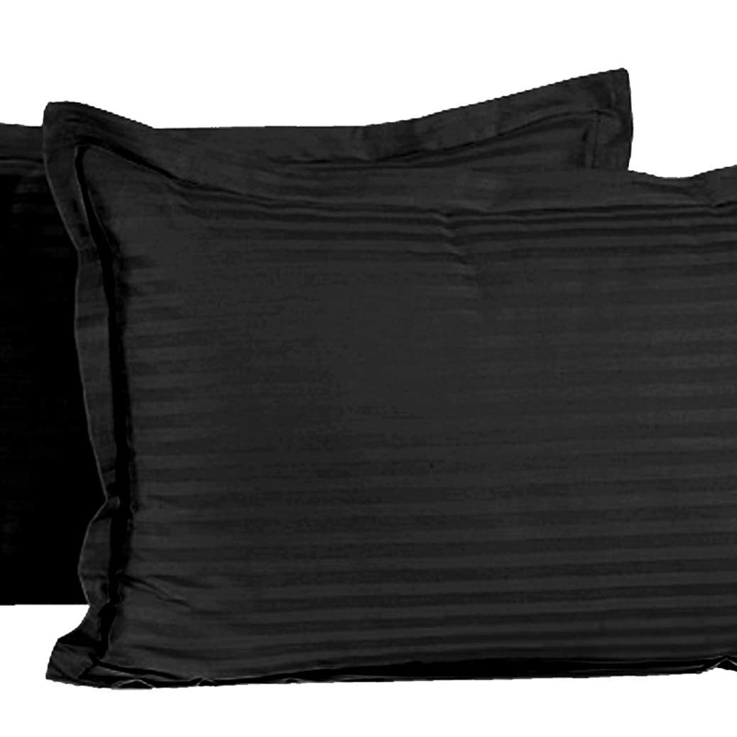"Kuber Industries 2 Pieces Cotton Luxurious Satin Striped Pillow Cover Set-17""x27"" (Black) - CTKTC40333"