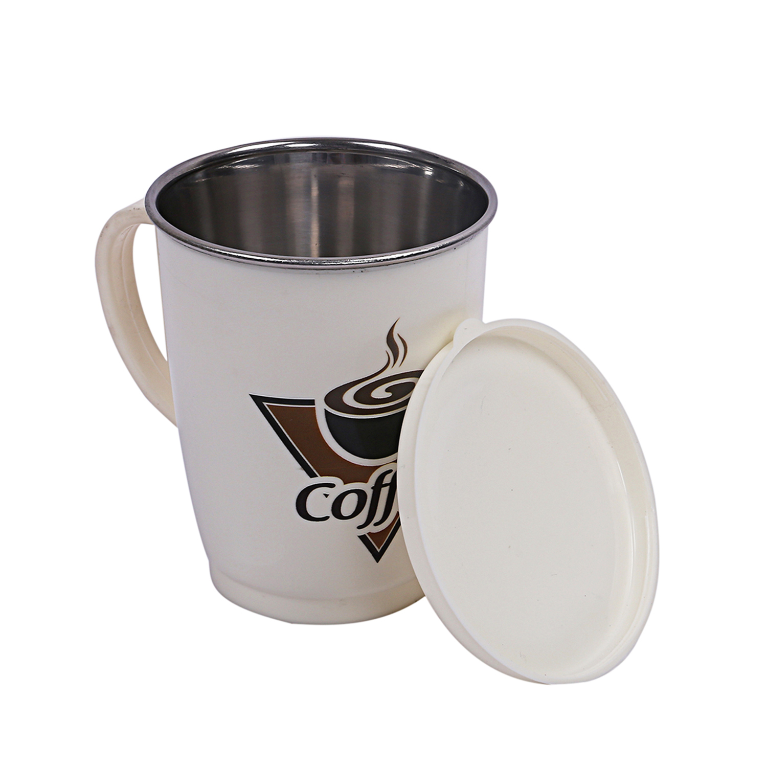 Kuber Industries 2 Pieces Designer Coffee Mug with Lid (White) -CTLTC11713