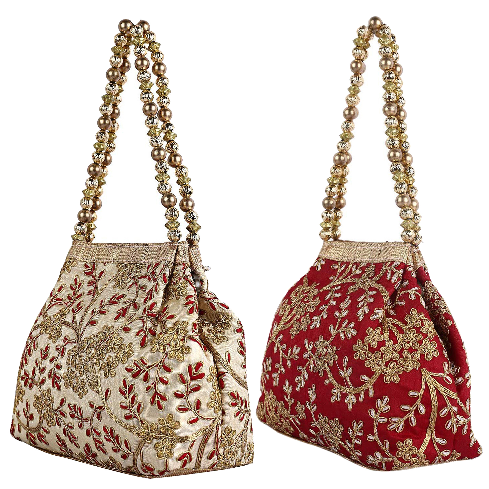 Kuber Industries 2 Pieces Polyester Embroidered Woman Potli Bag, Maroon & Cream - CTKTC31401