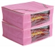 Kuber Industries 2 Pieces Raw Silk Saree Cover Wardrobe Organizer (Pink)-CTKTC2831