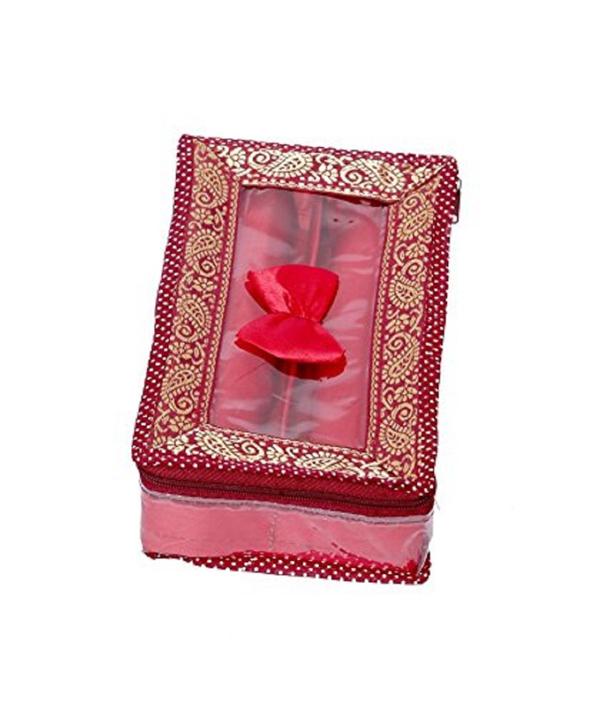 Kuber Industries™ 2 Rod Brocade Bangle box Set of 2 Pcs (9 cm x 17 cm x 28 cm)  (Code-COM018)