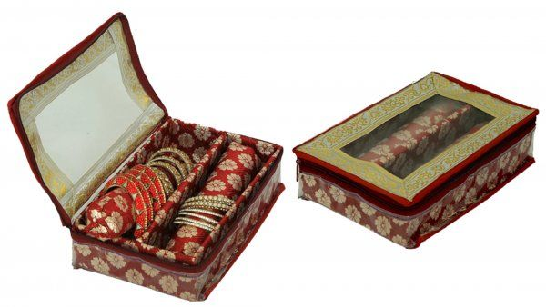 Kuber Industries™ 2 Roll Brocade Bangle box With Hard Board Support Set of 2 Pcs Maroon (Code-COM002)
