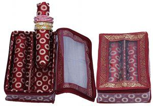 Kuber Industries™ 2 Roll Brocade Bangle box With Hard Board Support Set of 2 Pcs Maroon (Code-COM009)