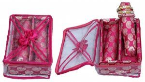 Kuber Industries™ 2 Roll Brocade Bangle box With Hard Board Support Set of 2 Pcs Pink (Code-COM008)