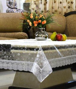 Kuber Industries™ .20 mm 3D Transparent Center Table Cover 4 Seater 40*60 Inches (Silver Lace) DTC04