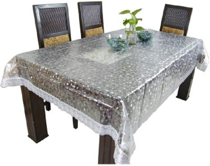 Kuber Industries™ .20 Mm Dining Table Cover 3D Transparent 4 Seater 45x70  Inches (Silver Lace) DTC0012