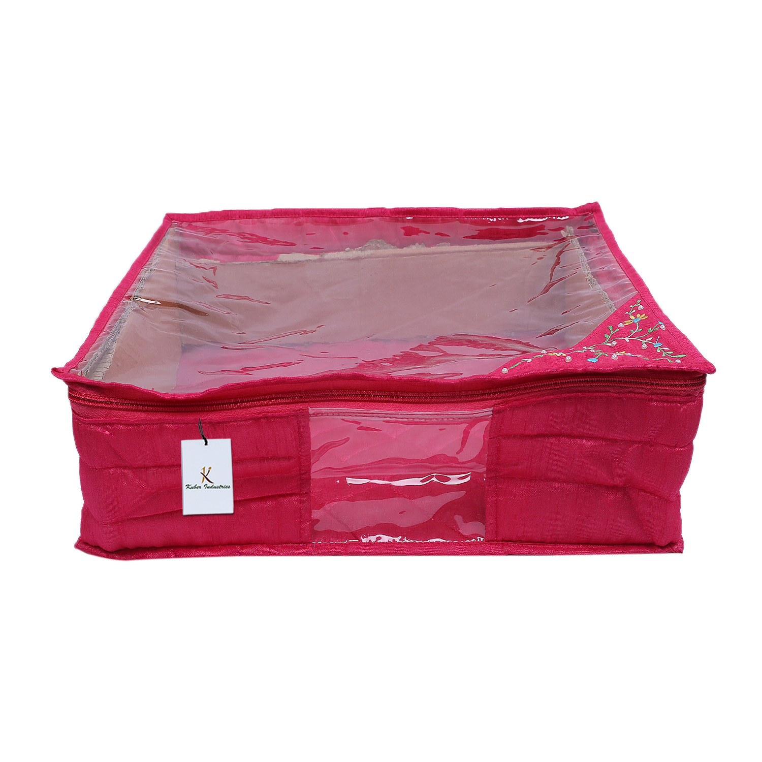 Kuber Industries 3 layered Quilted Silk Saree Cover (Pink) -CTLTC10627