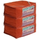 Kuber Industries 3 Pieces Raw Silk Saree Cover Wardrobe Organizer (Red)-CTKTC2842