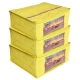 Kuber Industries 3 Pieces Raw Silk Saree Cover Wardrobe Organizer (Yellow)-CTKTC2837
