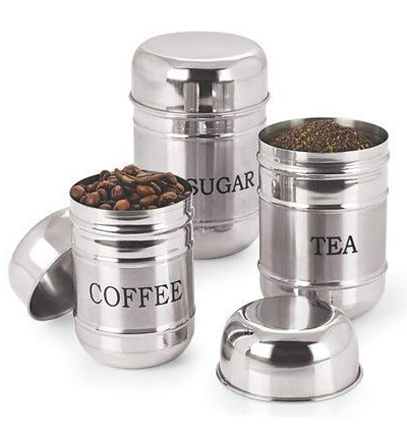 Kuber Industries 3 Pieces Stainless Steel Tea,Coffee And Sugar Container set, 500Ml,300Ml,200 Ml (Silver) -CTKTC38138