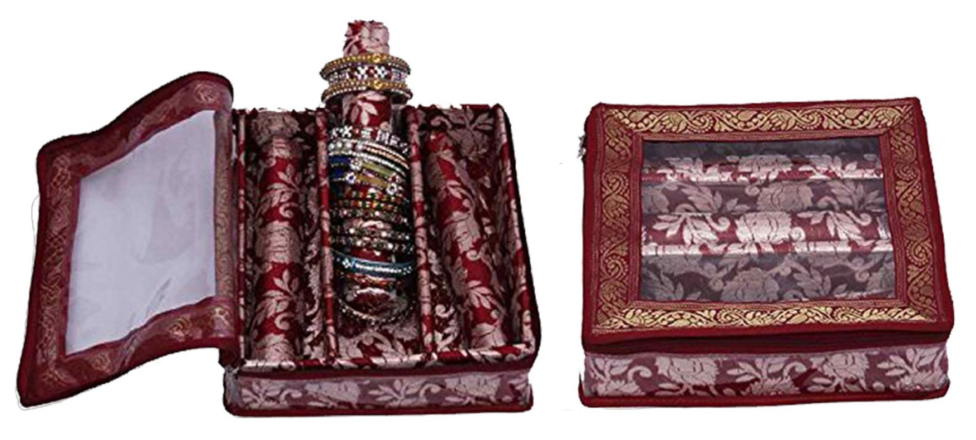 Kuber Industries™ 3 Roll Brocade Bangle box With Hard Board Support Set of 2 Pcs Maroon  (Code-COM014)