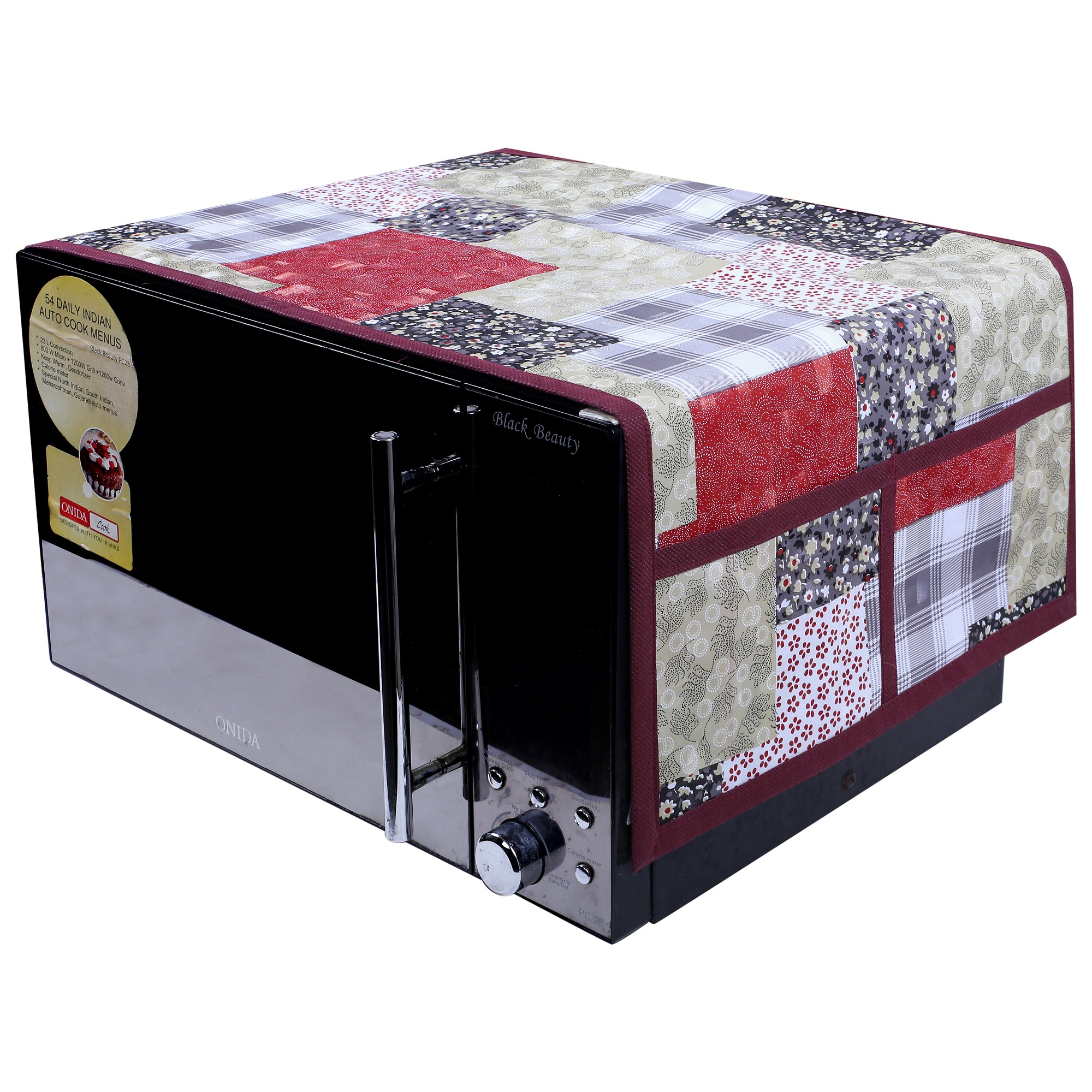 Kuber Industries 3D Checkered Design PVC Microwave Oven Top Cover 30 Liter with Utility 4 Pockets (Maroon) - CTKTC40677
