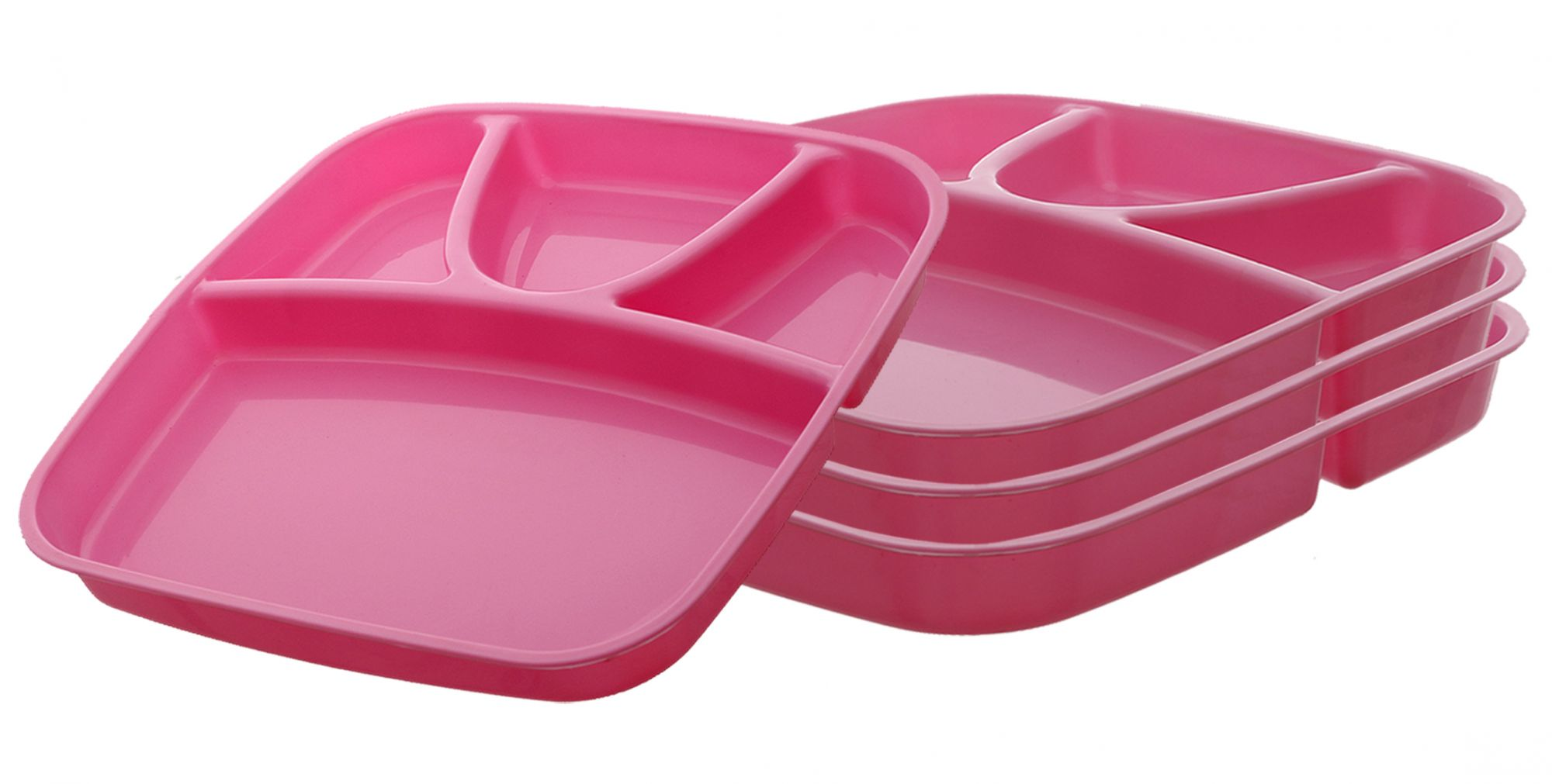 Kuber Industries 4 Pieces Microwave Safe Unbreakable Plastic Food Plate with Partitions (Pink) - CTKTC34705
