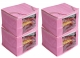 Kuber Industries 4 Pieces Raw Silk Saree Cover Wardrobe Organizer (Pink)-CTKTC2833