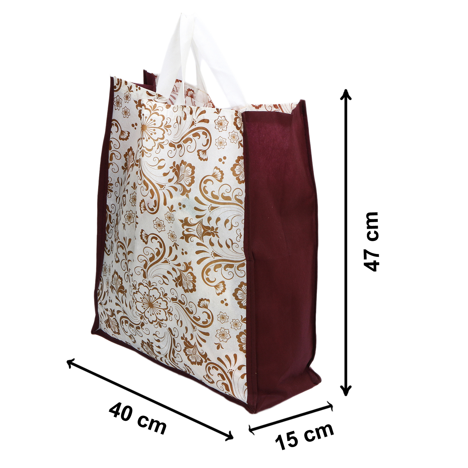 Kuber Industries 48 Pieces Non Woven Eco-Friendly Reusable Multipurpose Shopping Carry Bags (Maroon) - CTKTC30837