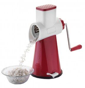 Kuber Industries™ 5 in 1 Rotary Grater Shredder Slicer for Vegetables,Fruits,Dry-Fruits,Potato,Carrot with 4 Different Drum & One Potato Peeler (Maroon)  Code-ROT16