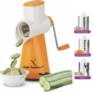 Kuber Industries™ 5 in 1 Rotary Grater Shredder Slicer for Vegetables,Fruits,Dry-Fruits,Potato,Carrot with 4 Different Drum & One Potato Peeler (Orange)  Code-ROT05