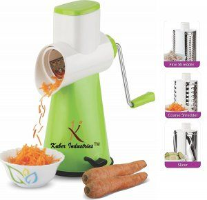Kuber Industries™ 5 in 1 Rotary Grater Shredder Slicer for Vegetables,Fruits,Dry-Fruits,Potato,Carrot with 4 Different Drum & One Potato Peeler (Orange)  Code-ROT09