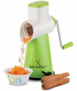 Kuber Industries™ 5 in 1 Rotary Grater Shredder Slicer for Vegetables,Fruits,Dry-Fruits,Potato,Carrot with 4 Different Drum & One Potato Peeler (Orange)  Code-ROT10