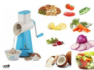 Kuber Industries™ 5 in 1 Rotary Grater Shredder Slicer for Vegetables,Fruits,Dry-Fruits,Potato,Carrot with 4 Different Drum & One Potato Peeler (Sky Blue)  Code-ROT12