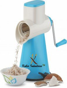 Kuber Industries™ 5 in 1 Rotary Grater Shredder Slicer for Vegetables,Fruits,Dry-Fruits,Potato,Carrot with 4 Different Drum & One Potato Peeler (Sky Blue)  Code-ROT13
